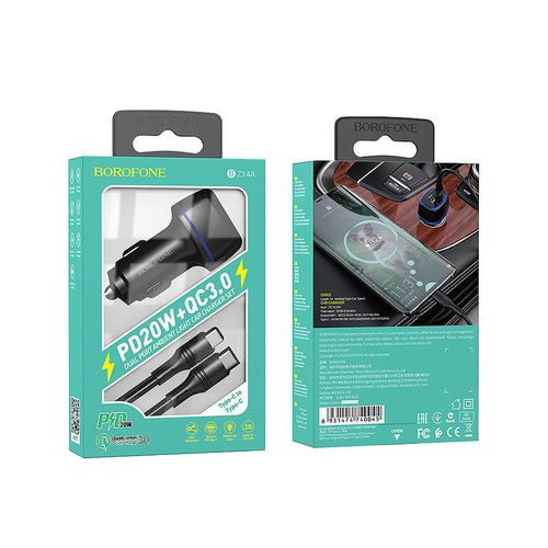 купить Borofone BZ14A Mercury dual port PD20W+QC3.0 ambient light car charger set (1m Type-C to Type-C cable) black, 740045, total output 5V / 3A, в Кишинёве