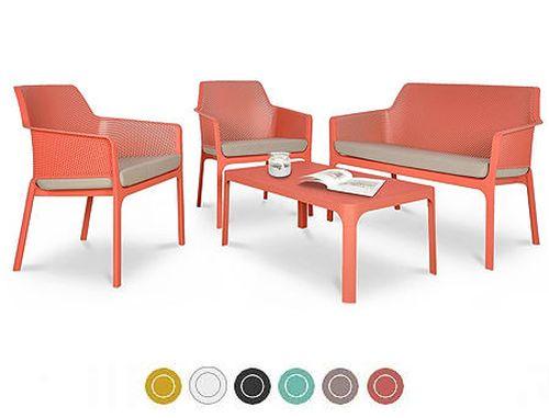 купить Set mobila de terasa NARDI NET BENCH + 2 fotolii NET RELAX + Masa NET TABLE 100 + Saltele scaune в Кишинёве