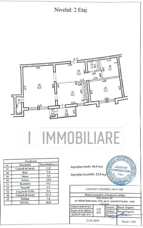 Apartament cu 2 camere, sect. Ciocana, str. Mihail Sadoveanu.