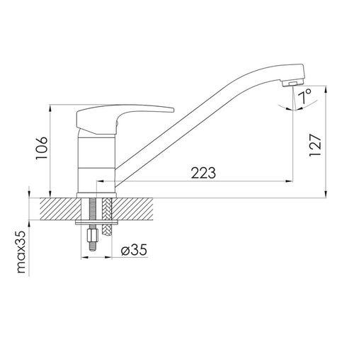 JESENIK смеситель для кухни, хром, 35 мм