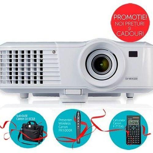 купить MMProjector Canon LV-WX320 + Gift Kit, DLP 3D, 16:10 WXGA (1280x800), 10000:1 (full on/full off), 3200Lm, 6000hrs (Eco), 1.1x zoom lens, HDMI and 2x VGA ports, RJ-45 (100BASE-TX / 10BASE-T) port, 10W speaker, Remote control, White, 2.5kg в Кишинёве