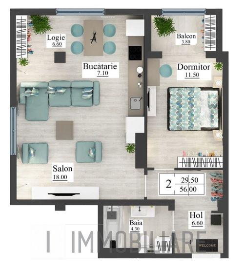 Apartament cu 2 camere, sect. Buiucani, str. Calea Ieșilor.