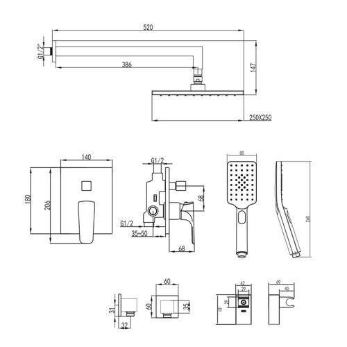 VALTICE комплект для ванны/душа (смеситель с переключателем., верхний .душ, ручной душ, шланг, шланг. подсоед)