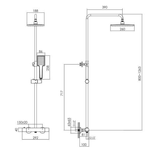 BILOVEC система душевая (смеситель-термостат для душа, верхний и ручной душ, шланг полимер), черный мат (ванная)