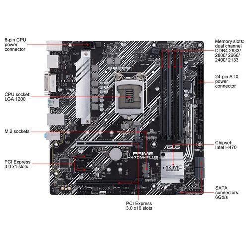 купить Материнская плата ASUS PRIME H470M-PLUS Intel H470, LGA1200, Dual DDR4 2933MHz, 2xPCI-E 3.0/2.0 x16, DP 1.4/HDMI 1.4b/DVI-D, AMD 2-Way CrossFireX, USB3.2, SATA RAID 6Gb/s, 2 x M.2 x4 Socket, Intel Optane memory ready, SB 8-Ch., GigabitLAN, LED lighting в Кишинёве