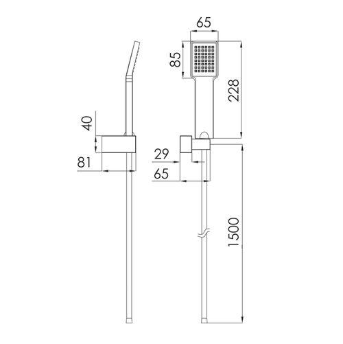 BILOVEC набор душевой (ручной душ 1 режим, шланг полимер, держатель), черный мат (ванная)