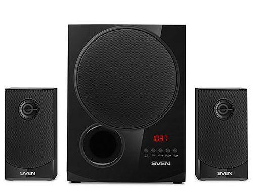 купить Active Speakers SVEN MS-2080 Black, mini music system: Bluetooth, LED display, remote, FM Tuner, USB port, SD slot ( 2.1 surround, RMS 70W, 40W subwoofer, 2x15W Satellites ) в Кишинёве