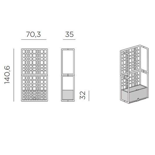 купить Модульная система ограждений Nardi SIPARIO 2 TERRA 40394.44.000 (Модульные ограждения с самополивающимся кашпо для сада / террасы / бара) в Кишинёве