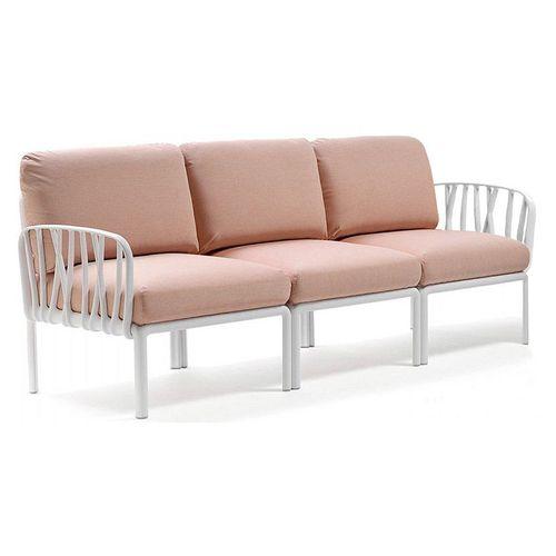 купить Диван с подушками Nardi KOMODO 3 POSTI BIANCO-rosa quarzo (Диван на 3 места с подушками для сада и терас) в Кишинёве
