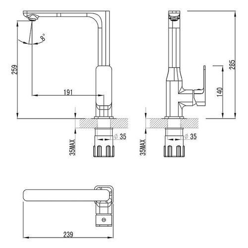IMPRESE BILOVEC смеситель для кухни, хром, 35 мм (кухня)