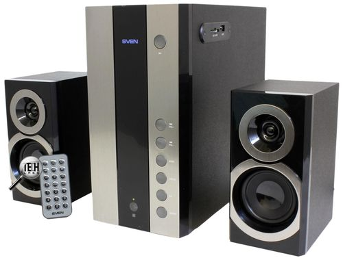 "cumpără Speakers SVEN MS-1090 Black,  2.1 / 18W + 2x11W RMS, USB & SD card Input, remote control, all wooden, (sub.4.5"" + satl.(3""+1"")) în Chișinău"