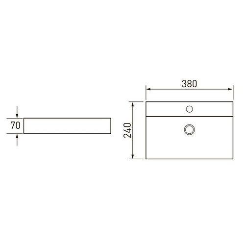 VOLLE умывальник 38*24*7см прямоугольный с отверстием под смеситель