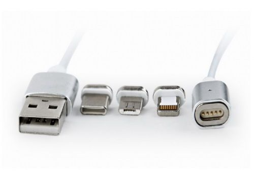 купить Cable USB CC-USB2-AMLM31-1M, 1 m, USB 2.0 A-plug to 8-pin male connector(for IPhone) + male MicroUSB connector + male USB-C connector, Magnetic USB charging combo 3-in-1, Silver в Кишинёве