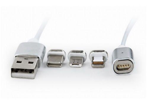 cumpără Cable USB CC-USB2-AMLM31-1M, 1 m, USB 2.0 A-plug to 8-pin male connector(for IPhone) + male MicroUSB connector + male USB-C connector, Magnetic USB charging combo 3-in-1, Silver în Chișinău